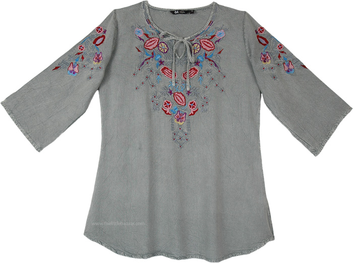 Steel Grey Stonewashed Boho Tunic Top with Embroidery