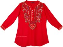 Coral Red Boho Tunic Top with Multicolored Embroidery