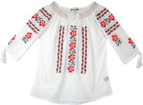 White Boho Tunic Top with Tribal Embroidery