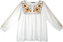 Sunflower Embroidered Baby Doll Tunic Top with Long Sleeves