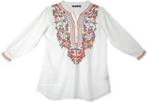 Dreamy White Boho Tunic Top with Multicolored Embroidery