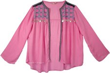 Pretty Pink Boho Embroidered Shrug Open Tunic with Coins