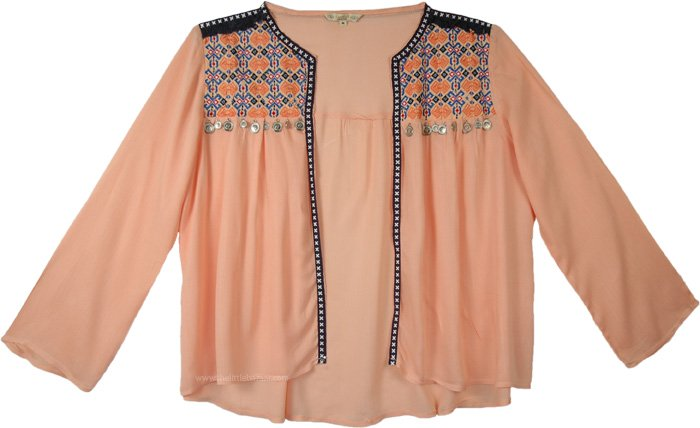 Gypsy Festival Style Open Long Shrug in a Peach with Coins