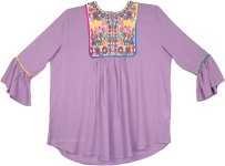 Lilac Boho Tunic Top with Tribal Style Embroidery