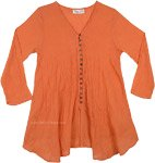 Fire Orange Crinkled Cotton Summer Tunic Top