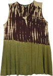 Jungle Gypsy Brown Green Sleeveless Top