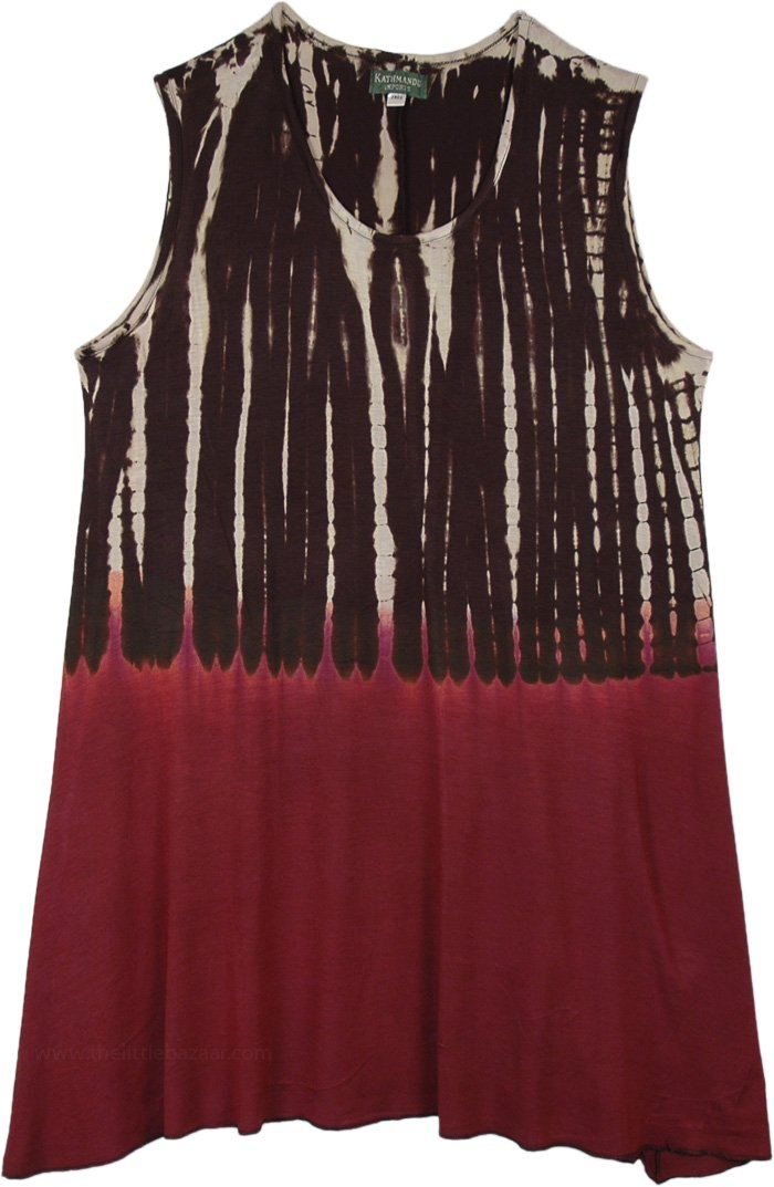 Woody Sunset Brown Currant Sleeveless Top