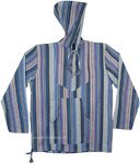 Cool Blue Striped Cotton Hooded Unisex Bohemian Shirt