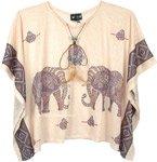 Embellished Elephant Print Beige Poncho Top