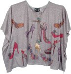 Glitzy Heels Printed Poncho Top in Gray