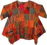 Artistic Autumn Boho Patchwork Cotton Tunic Top XXL
