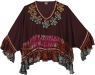 Choco Brown Poncho Top with Beads and Poms