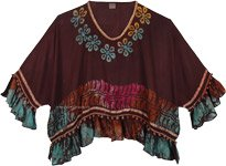 Brown Boho Poncho Top with Beads and Poms in Large