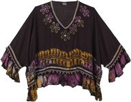 Black Boho Poncho Top with Beads and Poms