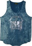 Hip Peace Van Teal Cotton Tank Top