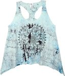 Ice Blue Elephant Mandala Printed Cotton Tank Top