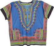 Plus Size Dashiki African Unisex Cotton Shirts in Blue