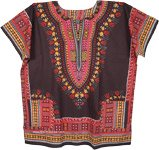 Plus Size Dashiki African Unisex Cotton Shirts in Black