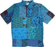 Turquoise Patchwork Unisex Boho Shirt with Open Front