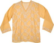 Sheer Orange Sequin Top with Floral Embroidery