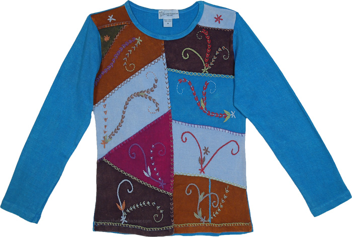 Azure Radiance Blue Hippie Top with Patchwork and Embroidery