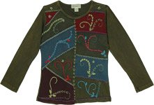 Italian Olive Green Full Sleeve Boho Top with Patchwork