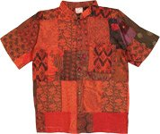 Hippie Red Patchwork Unisex Short Sleeve Cotton Shirt