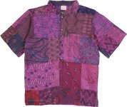 Unisex Purple Star Hippie Patchwork Cotton Summer Shirt