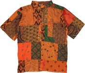 Unisex Sweet Orange Hippie Patchwork Cotton Summer Shirt