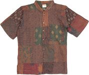 Short Sleeves Unisex Vintage Hippie Shirt in Brown