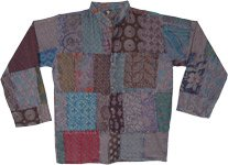 Button Down Boho Patchwork Unisex Cotton Shirt Full Sleeves