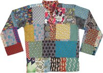 Multi Patchwork Unisex Hippie Tunic Shirt