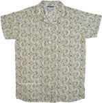 White Cotton Voile Shirt with Dense Floral Print