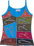 Cerulean Embroidered Arty Patchwork Tank Top in Cotton