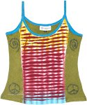 Multicolored Razor Cut Stonewashed Hippie Tank Top