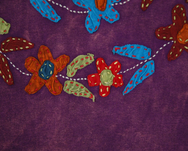 Floral Vine Applique Cotton Tank Top in Purple