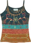 Multicolored Floral Embroidery Stonewashed Cotton Tank Top