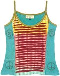 Aqua Blue Razor Cut Cotton Hippie Tank Top