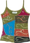 Costa Del Sol Green Embroidered Arty Patchwork Tank Top