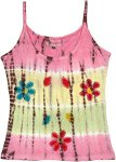 Summer Tones Floral Applique Cotton Tank Top
