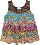 Summer Floral Tiers Sleeveless Babydoll Top
