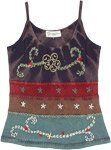 Sky and Sea Lush Tank Top with Embroidered Motifs