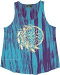 Icy Blues Floral Dreamcatcher Golden Print Tank Top