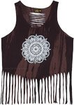 intricate Mandala Razor Back Tank Top with Bottom Fringes