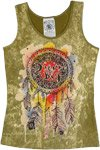 Dusty Olive Tank Top with Artistic Dreamcatcher Print
