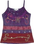 Purple Magic Carpet Tank Top with Embroidery