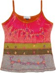 Happy Spring Garden Tank Top with Floral Embroidery