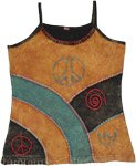 Peace Pathways Hippie Tank Top with Embroidery Motifs