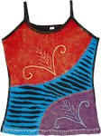Scarlet and Mauve Tank Top with Applique And Razor-cut Details