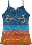 Earth To infinity Hippie Tiered Tank Top with Embroidery